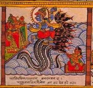 Кришна, танцующий на голове змея Калии.